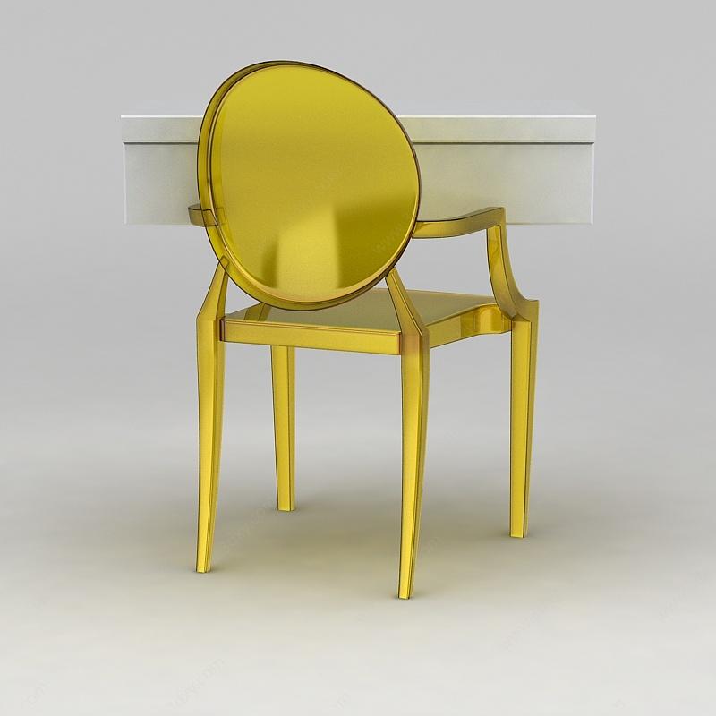 黃色透明塑料單椅3D模型
