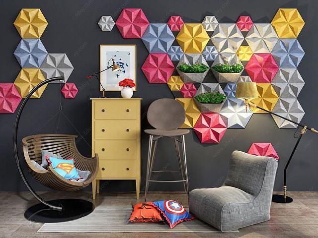 創意幾何墻飾休息椅組合