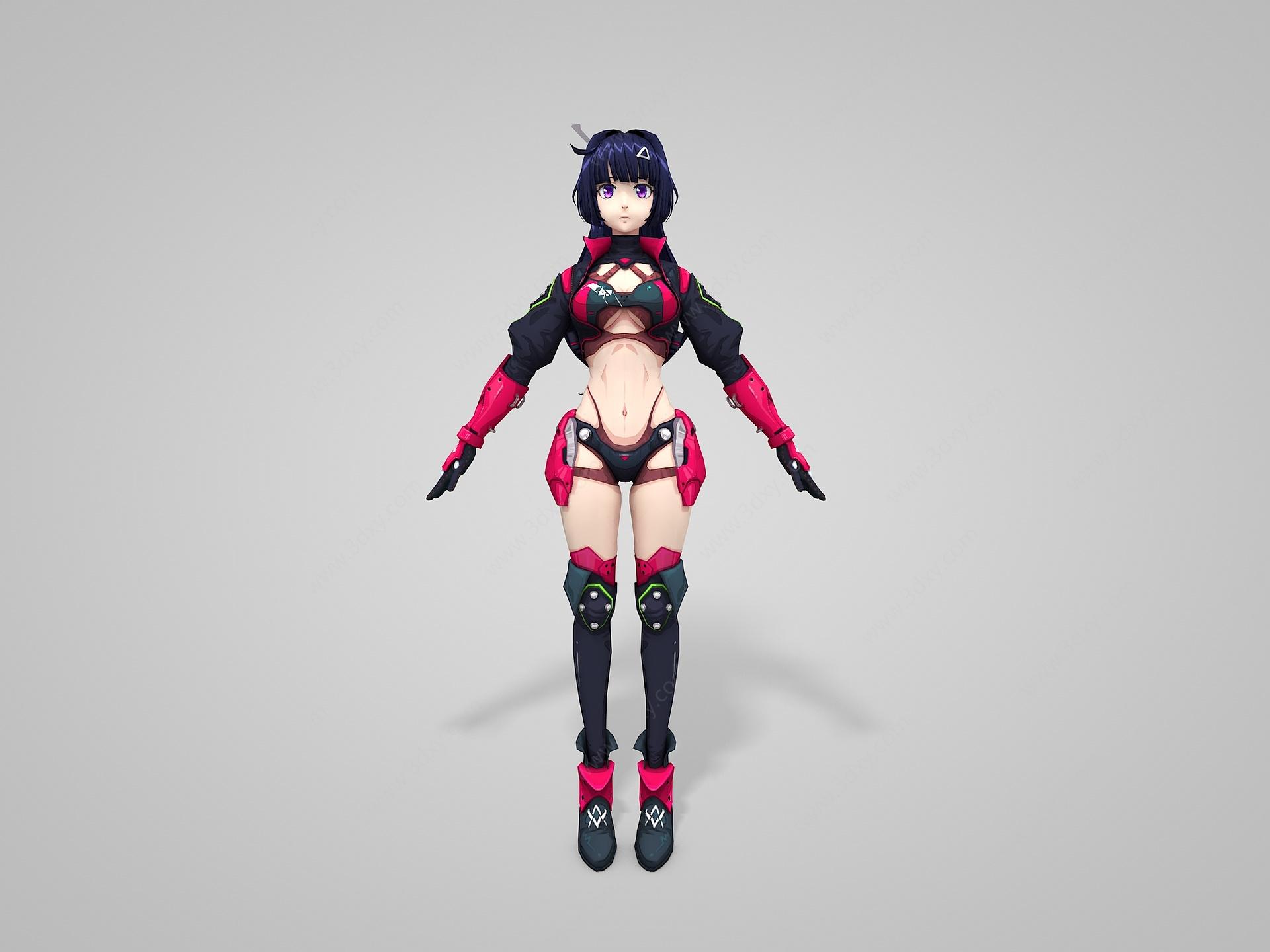 賽璐璐風格Q版美女人物3D模型