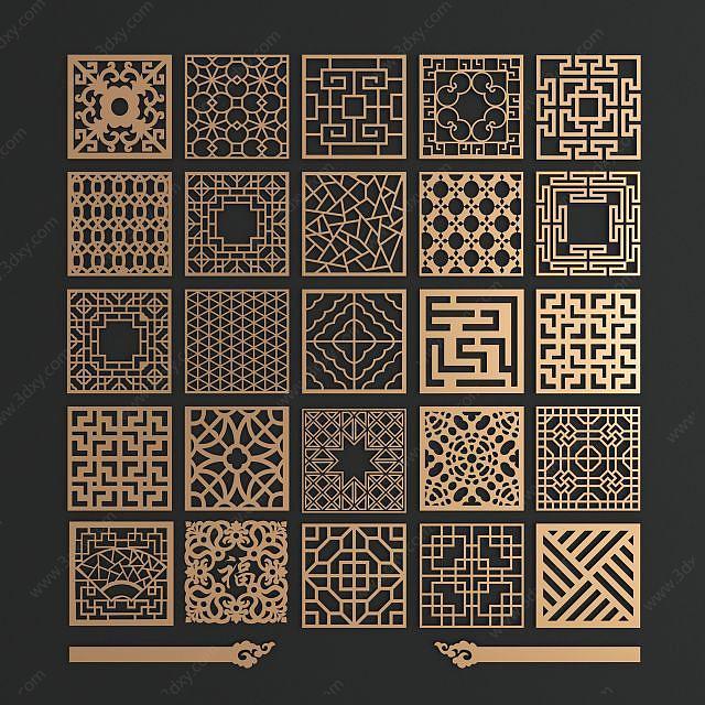 中式金屬花格窗組合