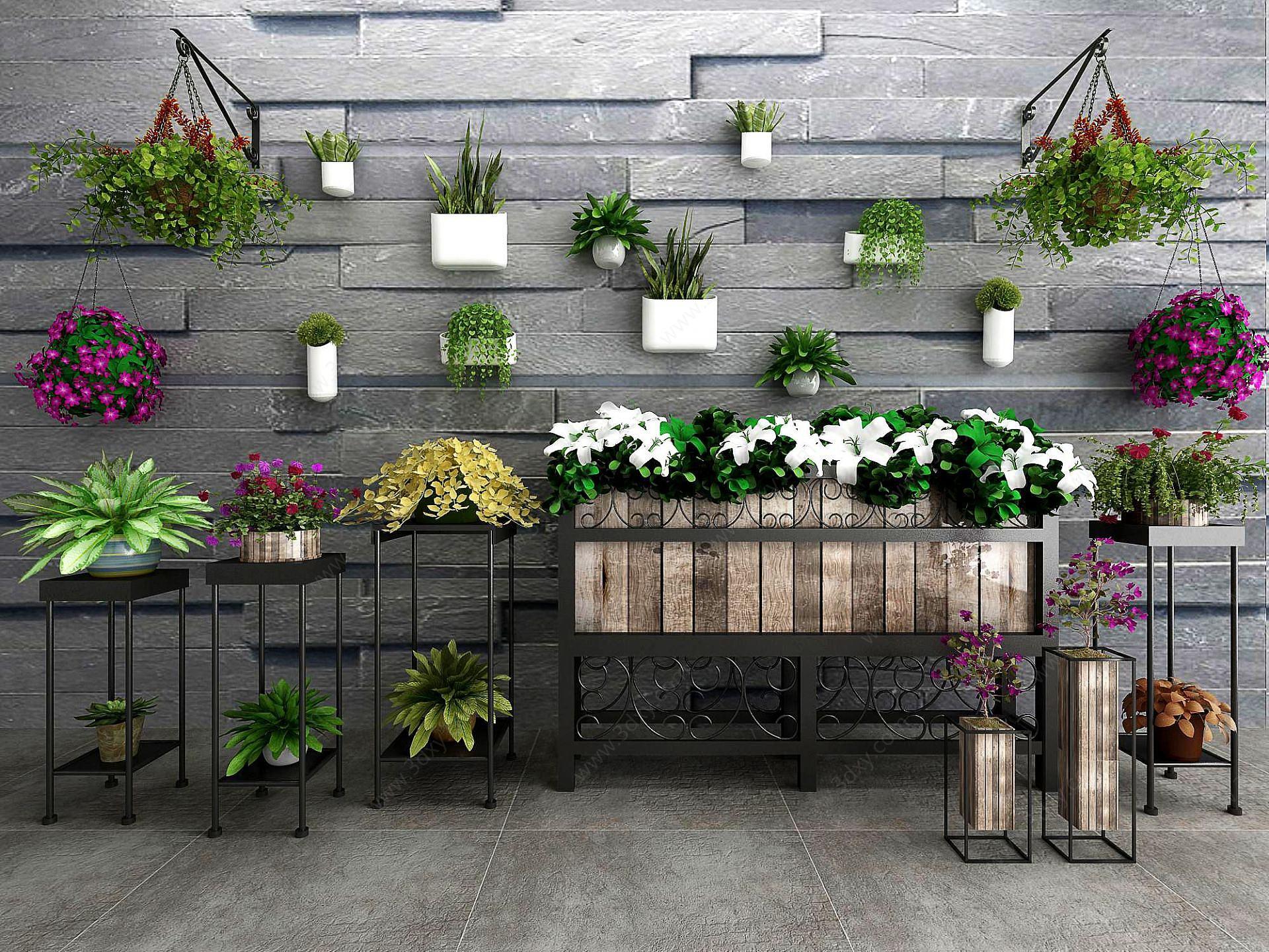 現代盆栽綠植鐵藝花架
