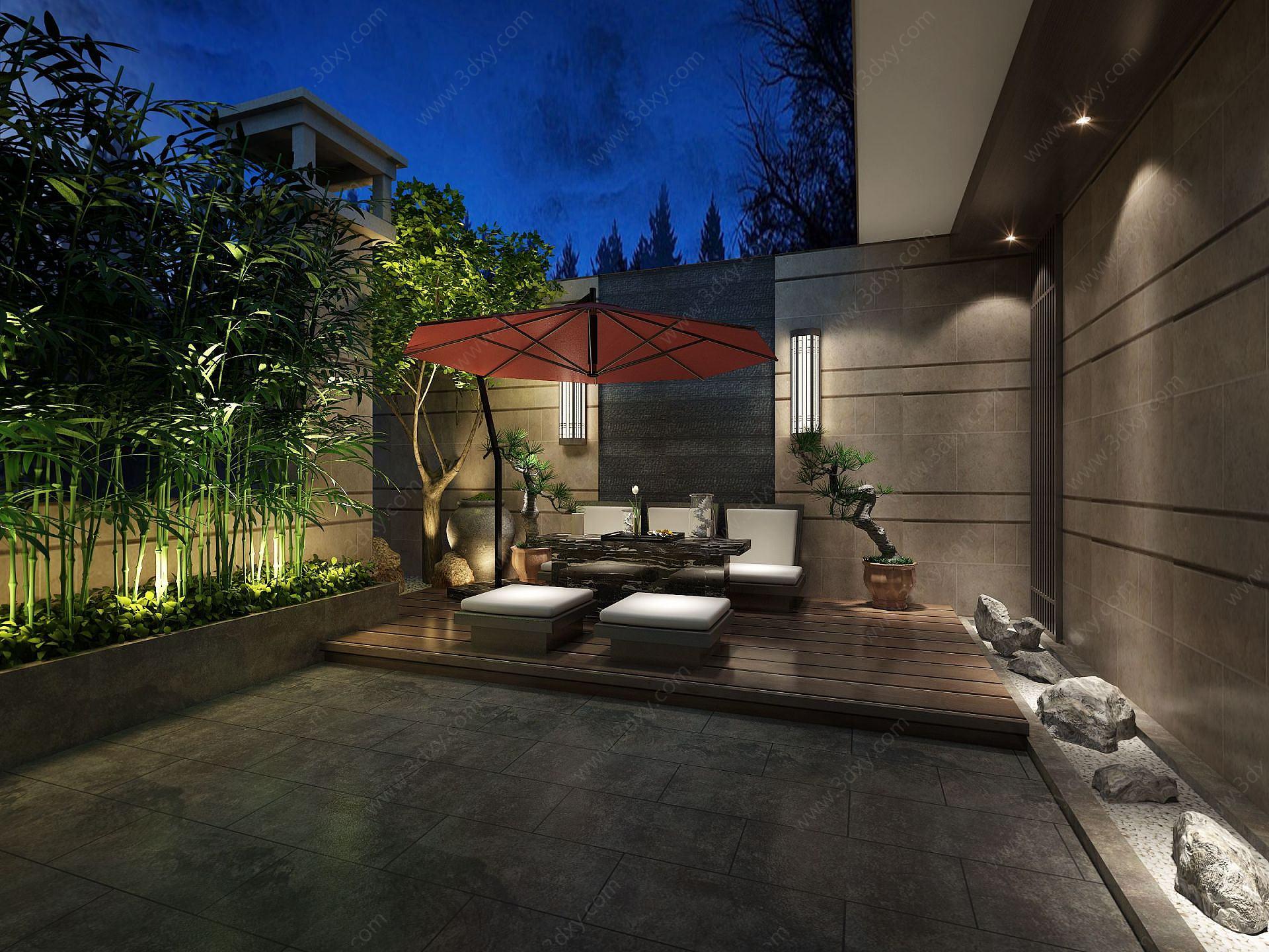 別墅戶外綠植庭院茶室