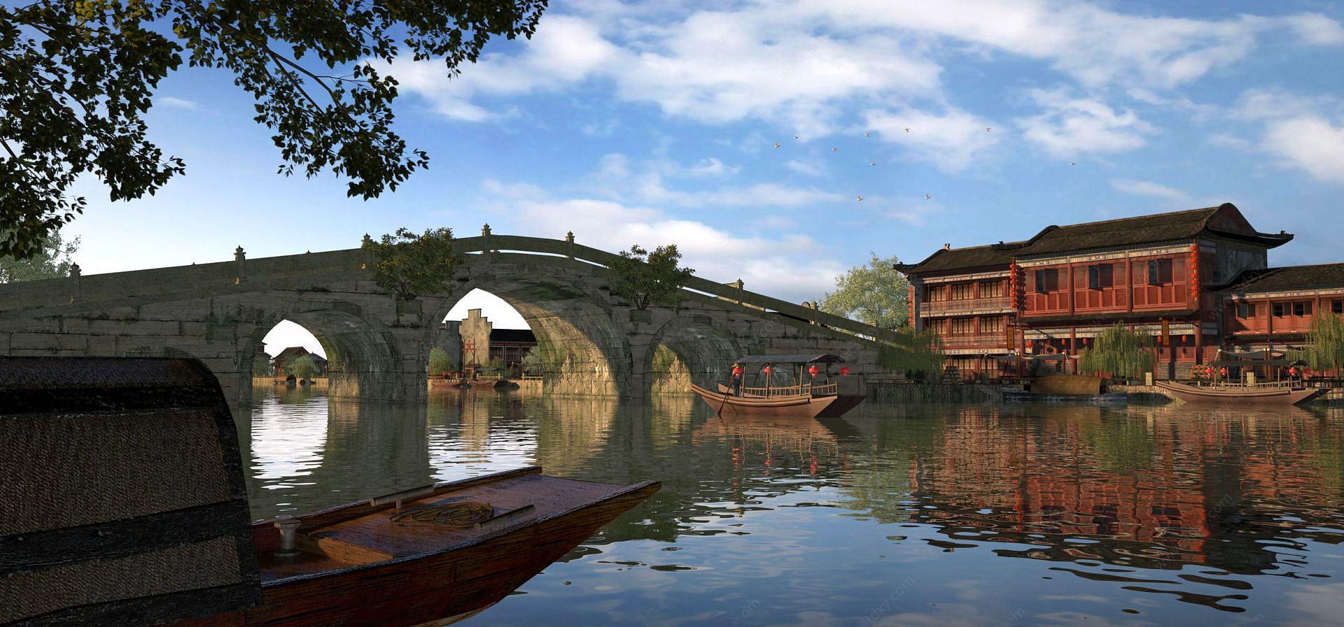 公園古建筑房子橋船