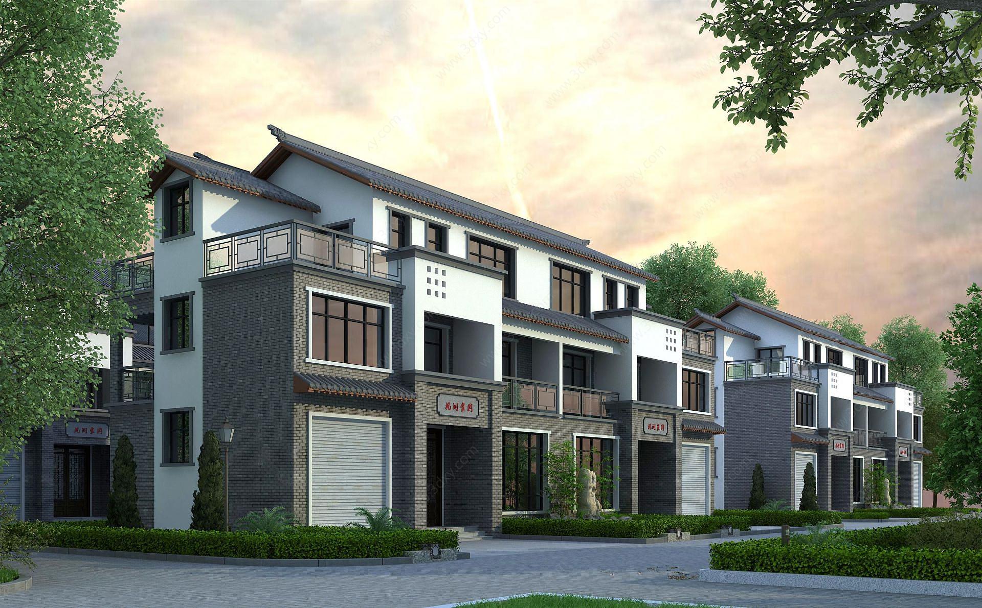 新中式別墅建筑外觀