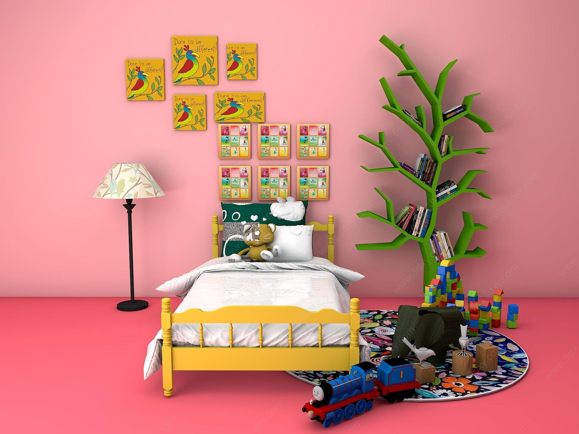 兒童房床樹書架裝飾畫組合