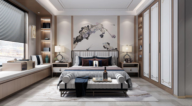 中式風格的臥室