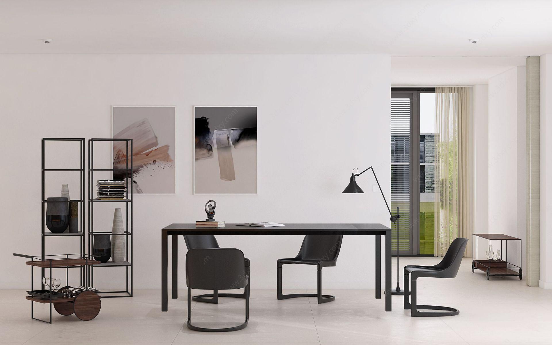 現代餐廳餐桌餐椅裝飾架