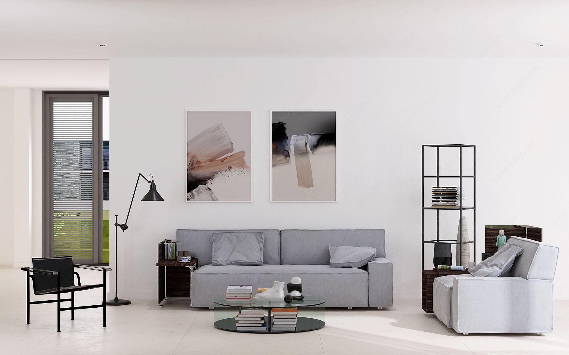 現代客廳沙發茶幾休閑椅