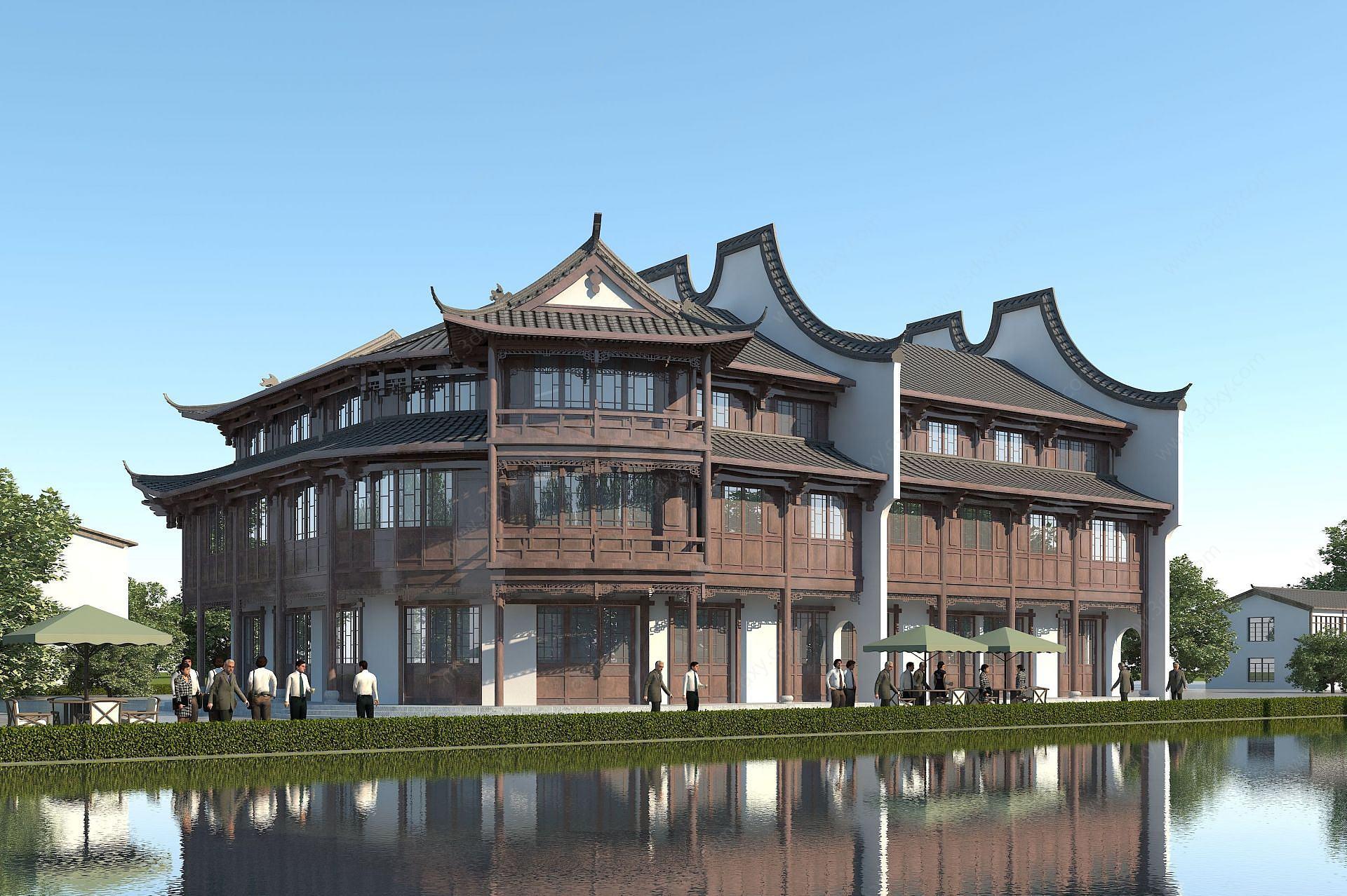 中式商業街3D模型