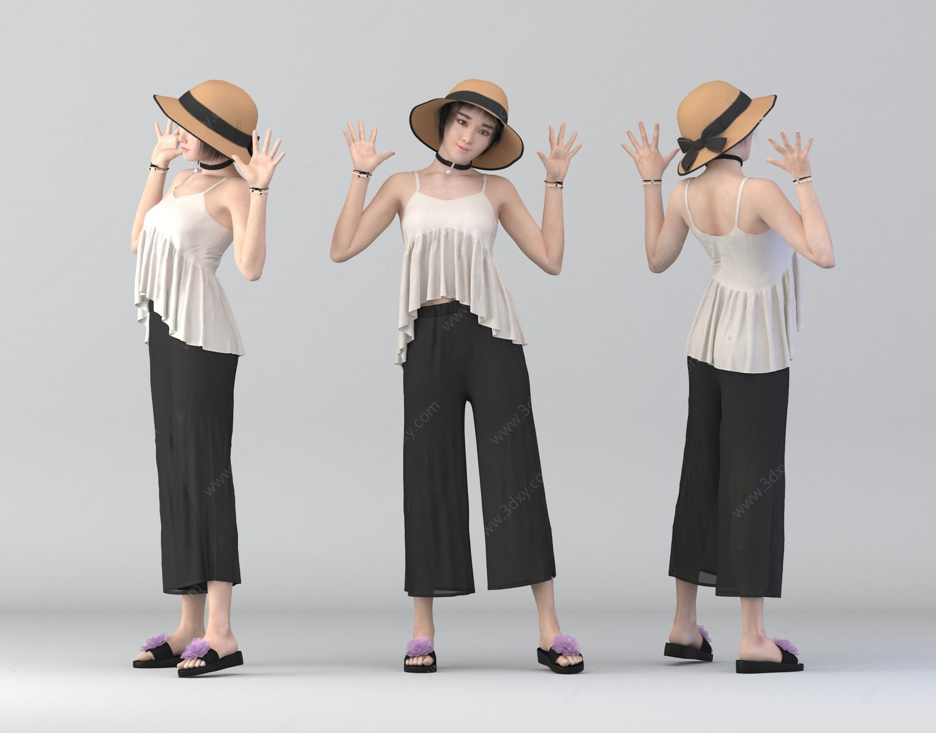 休閑美女3D模型