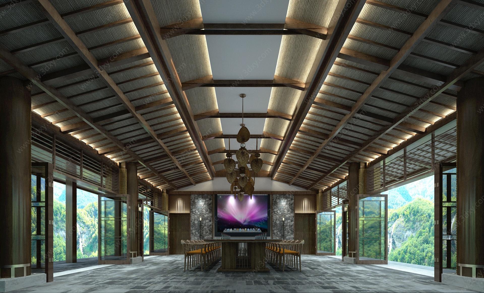 海航五指山多功能廳餐廳3D模型