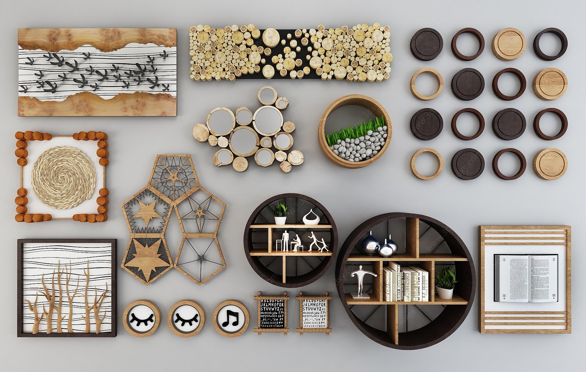 現代北歐木質墻面壁飾3D模型