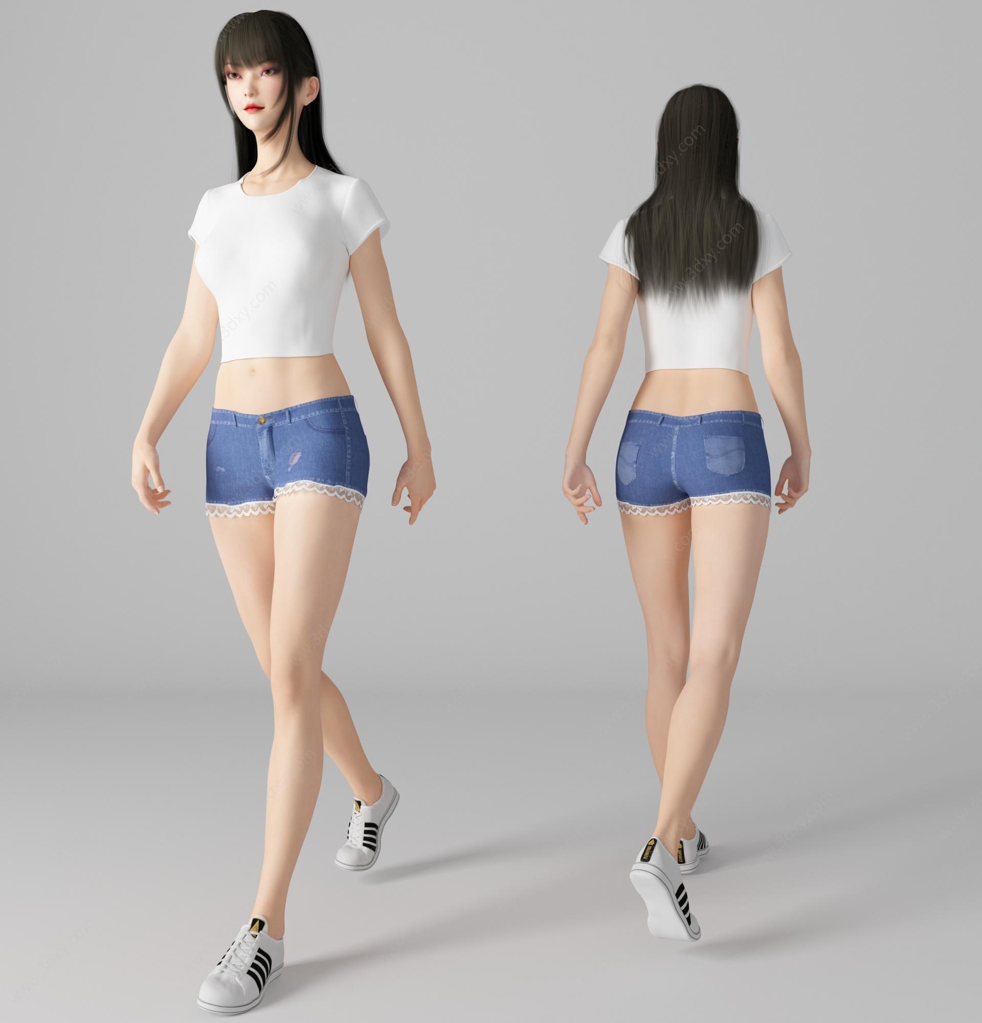 現代風格性感美女人物3D模型