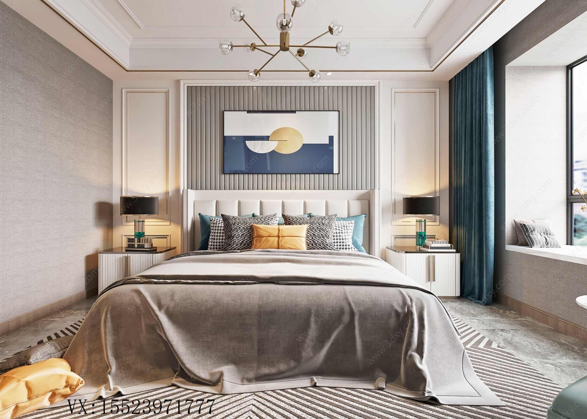 現代輕奢風格主臥室3D模型