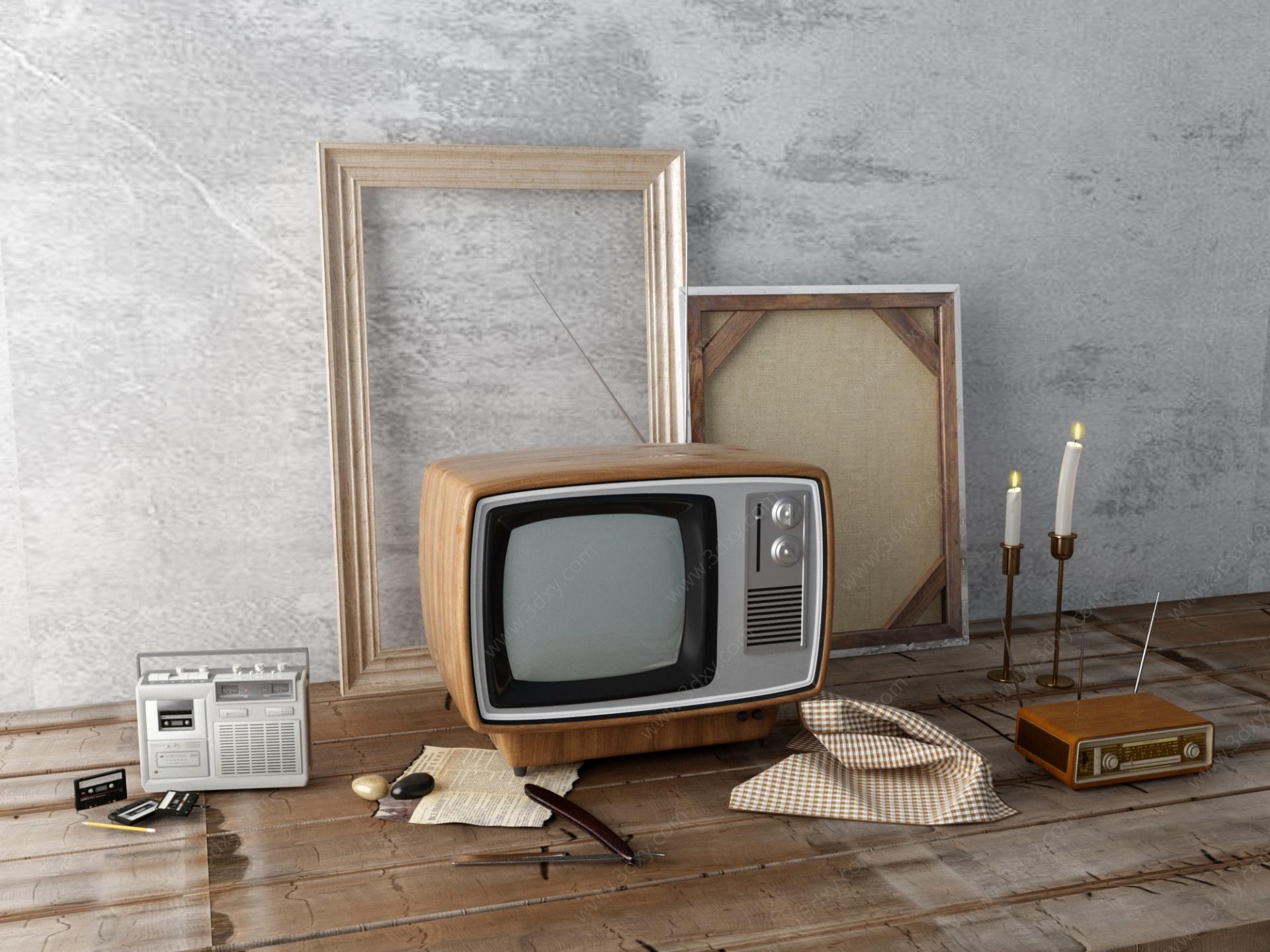 老電視機老收音機老物件3D模型