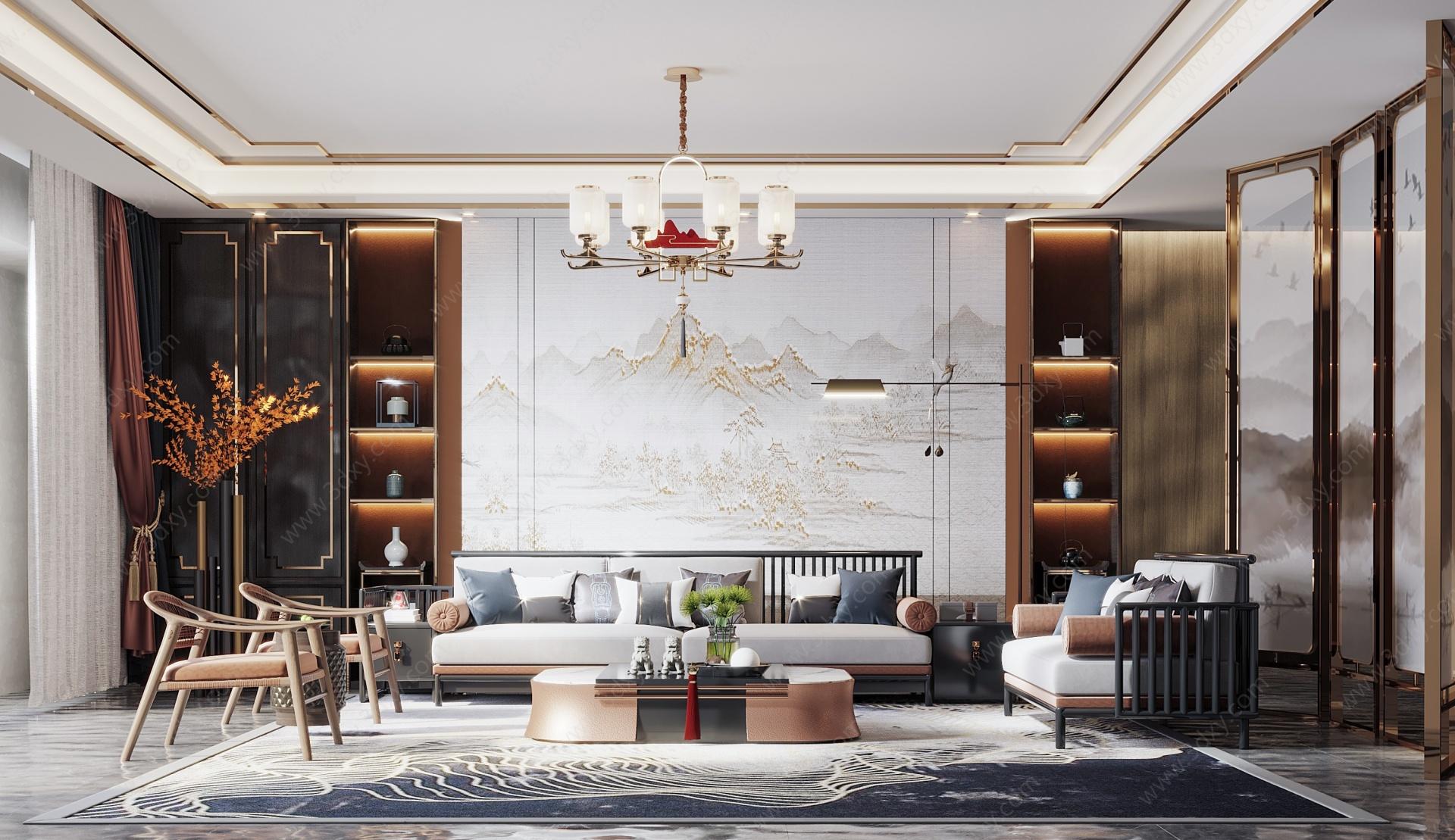 新中式客廳3D模型