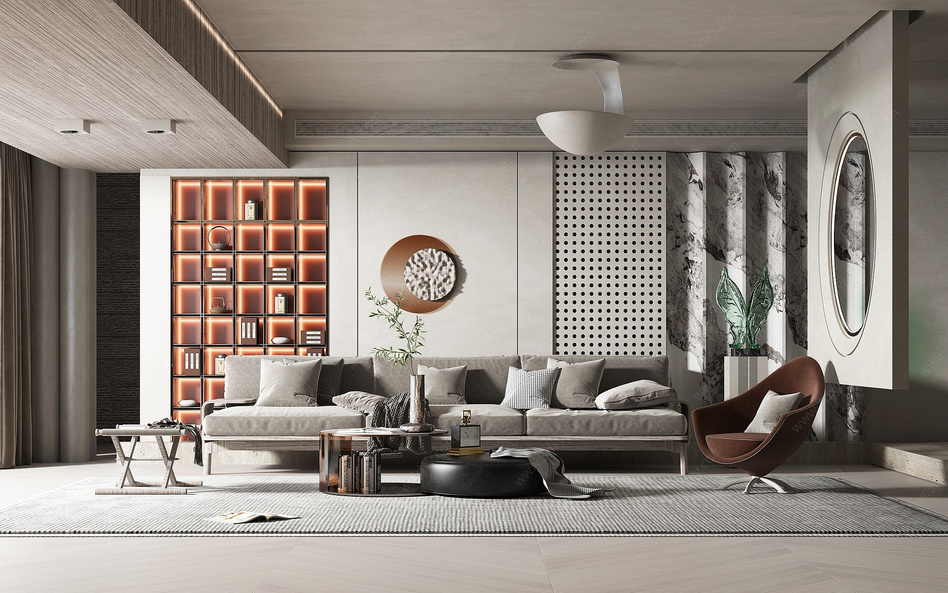 現代風格客廳3D模型