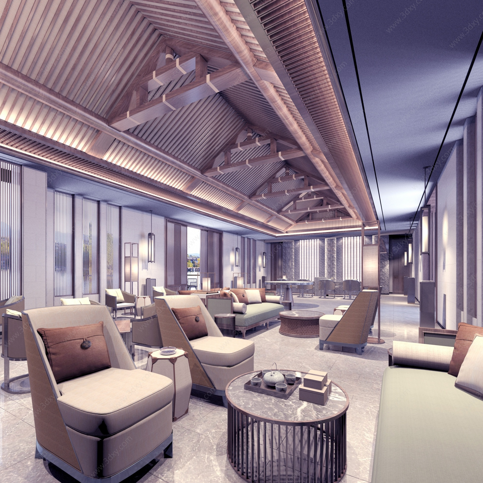 中式風格售樓部3D模型