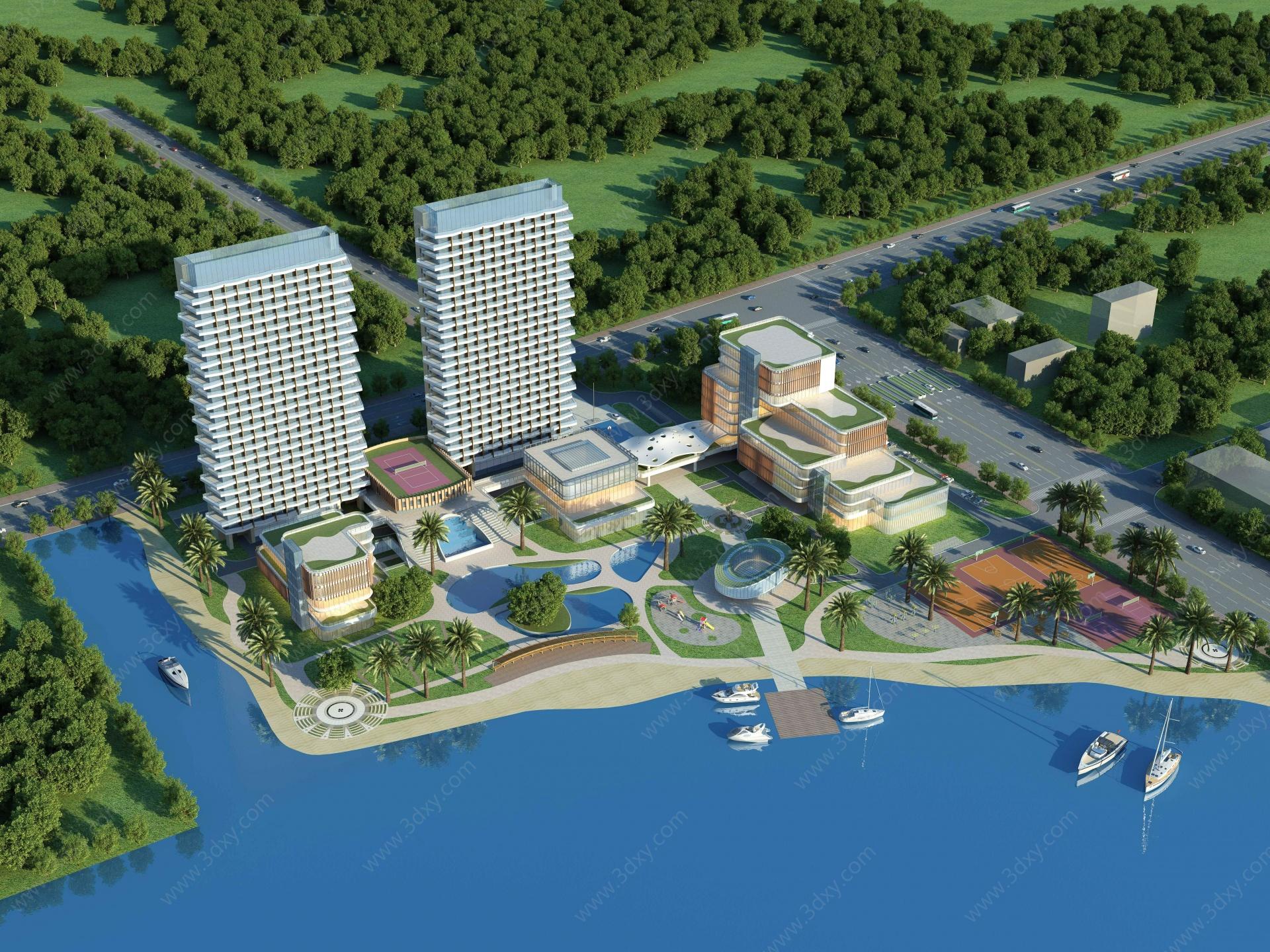 酒店度假村3D模型
