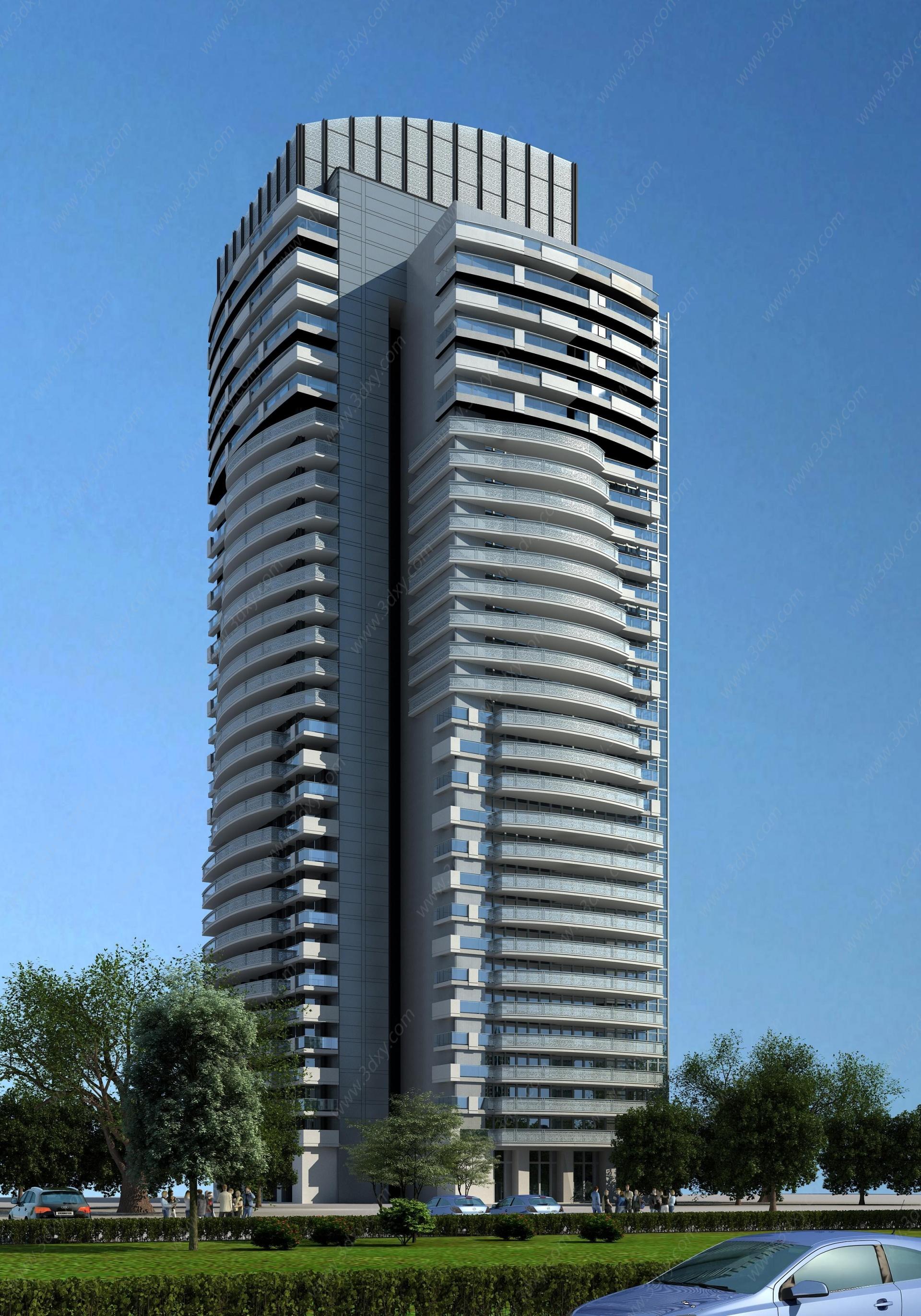 現代高層住宅樓3D模型
