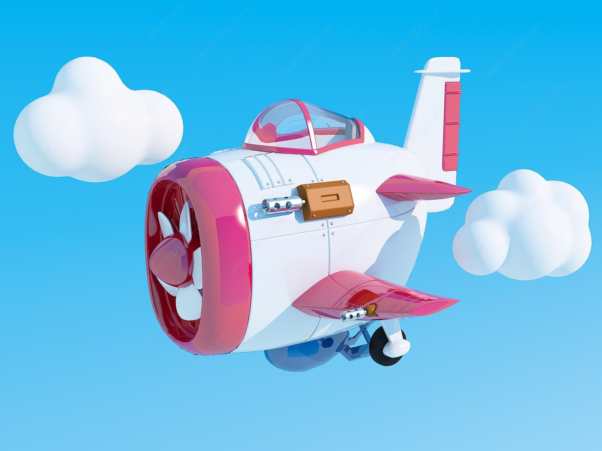 卡通飛機3D模型