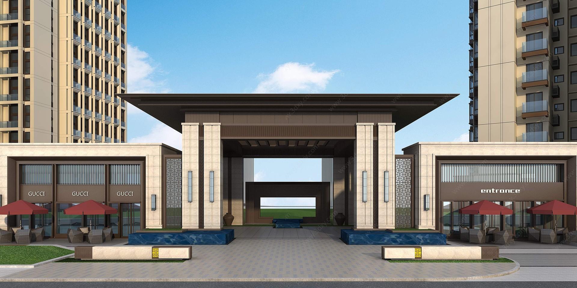 新古典小區入口大門3D模型