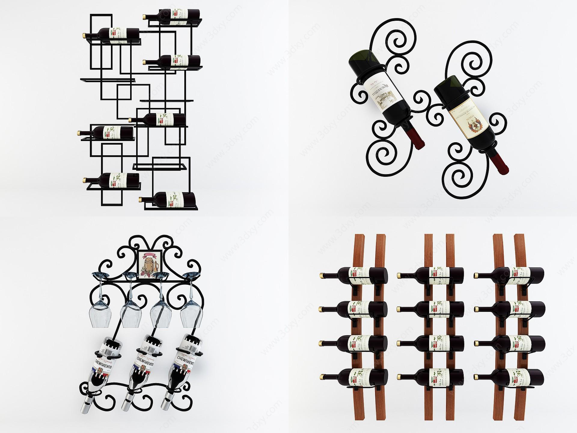 現代墻面鐵藝紅酒架3D模型