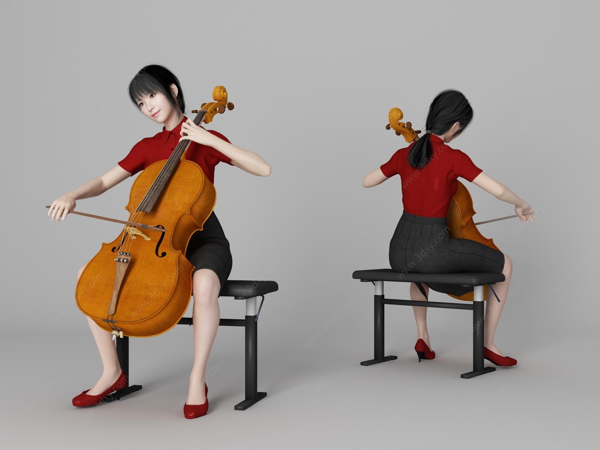 現代風格大提琴美女人物3D模型