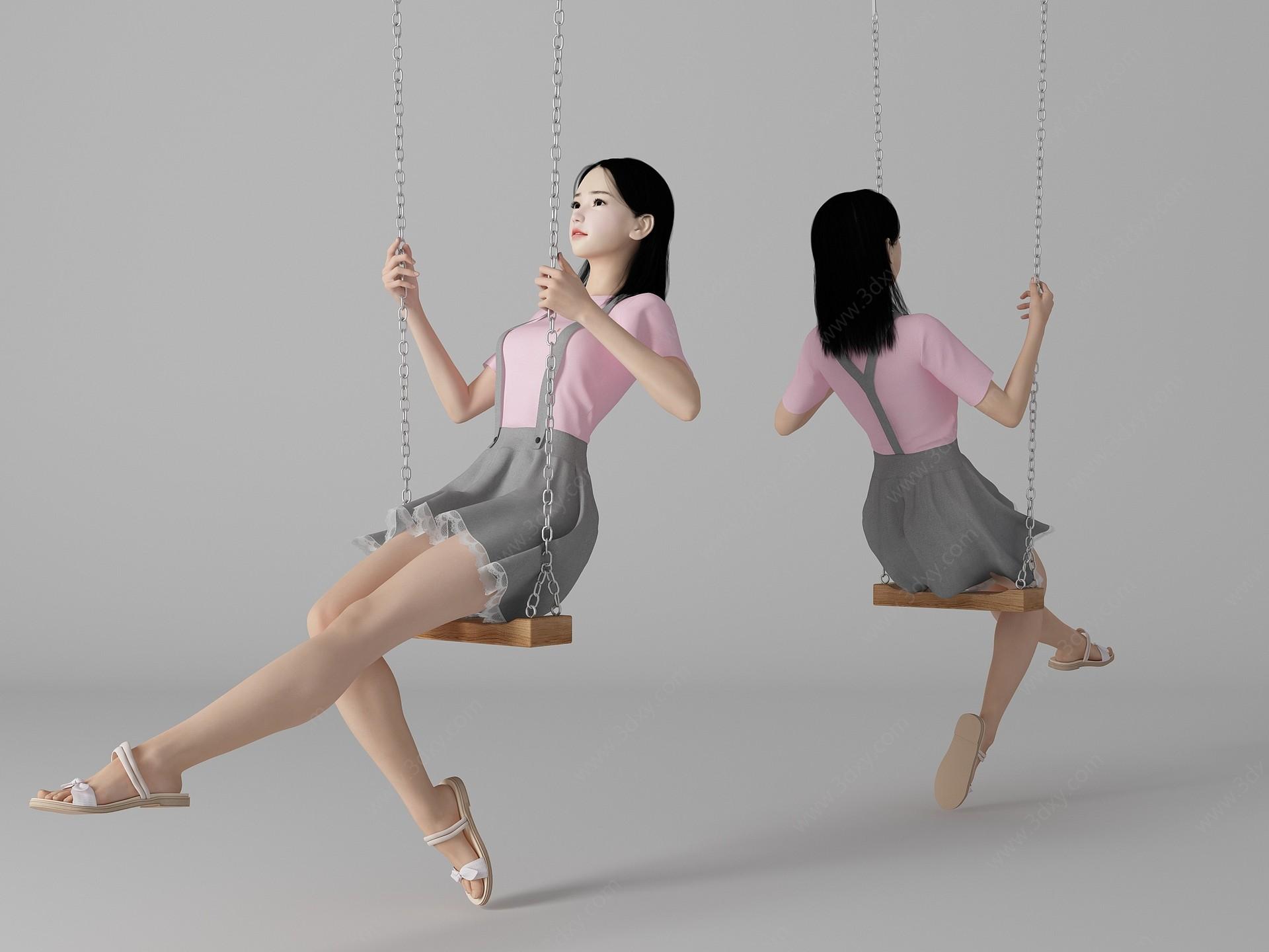 現代風格秋千美女人物3D模型