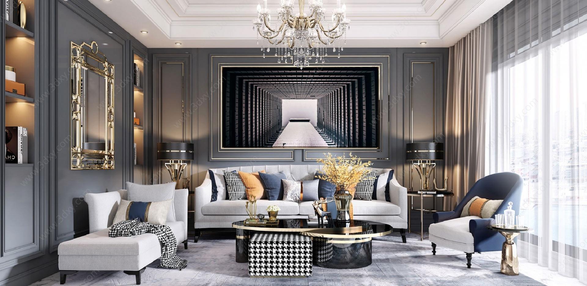 美式輕奢客廳3D模型