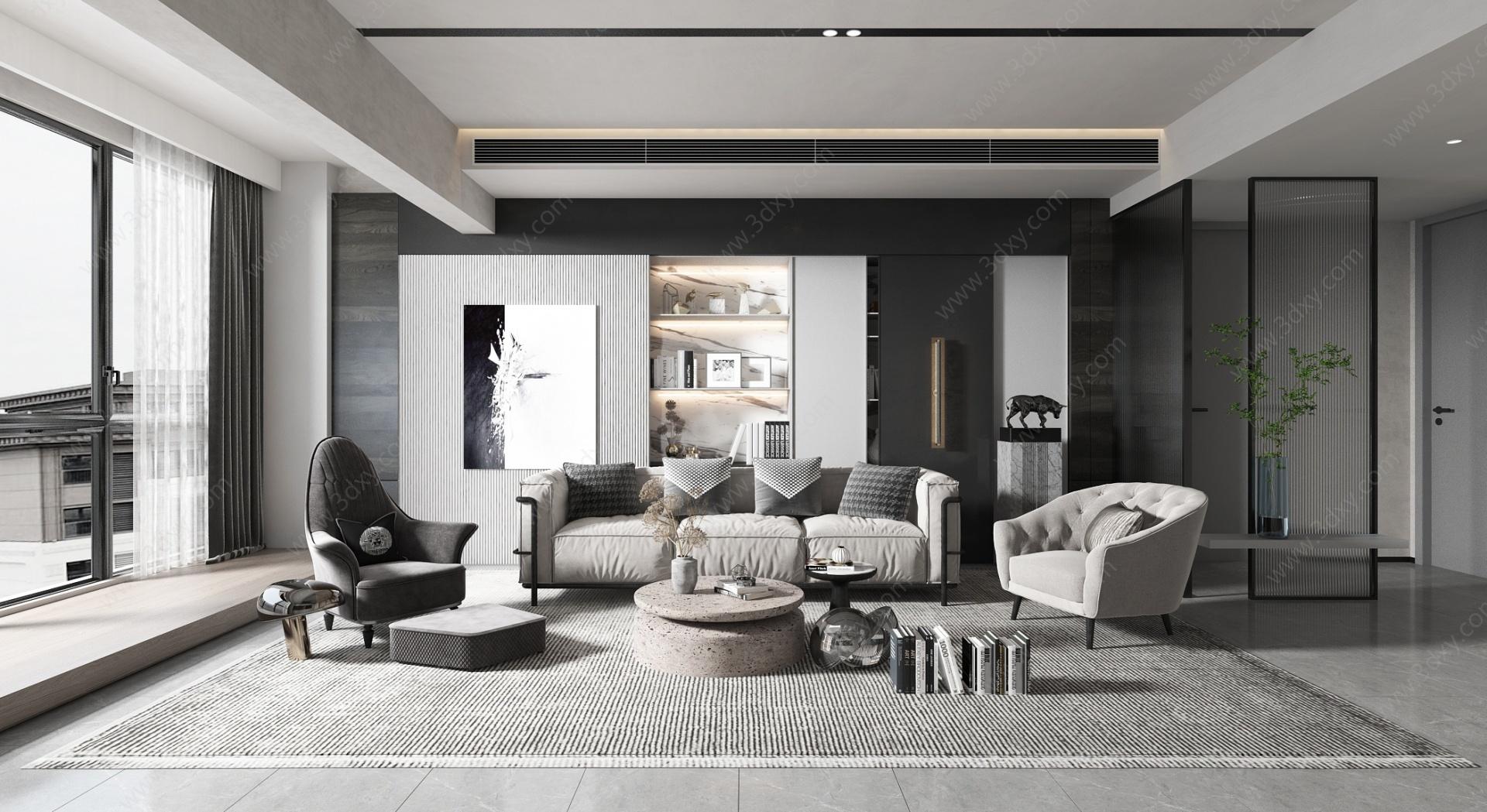 現代簡約風格客廳3D模型