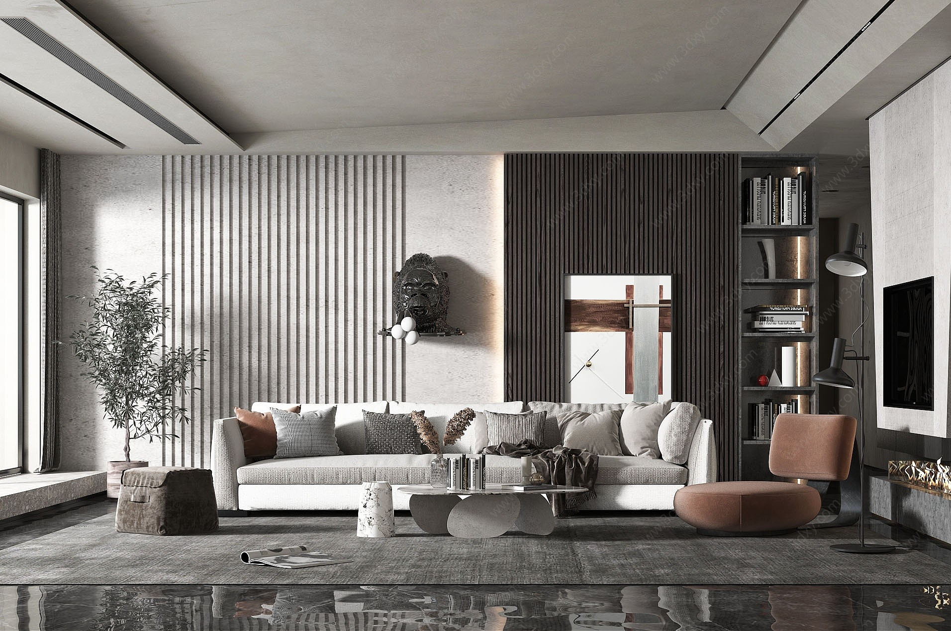 現代簡約客廳3D模型