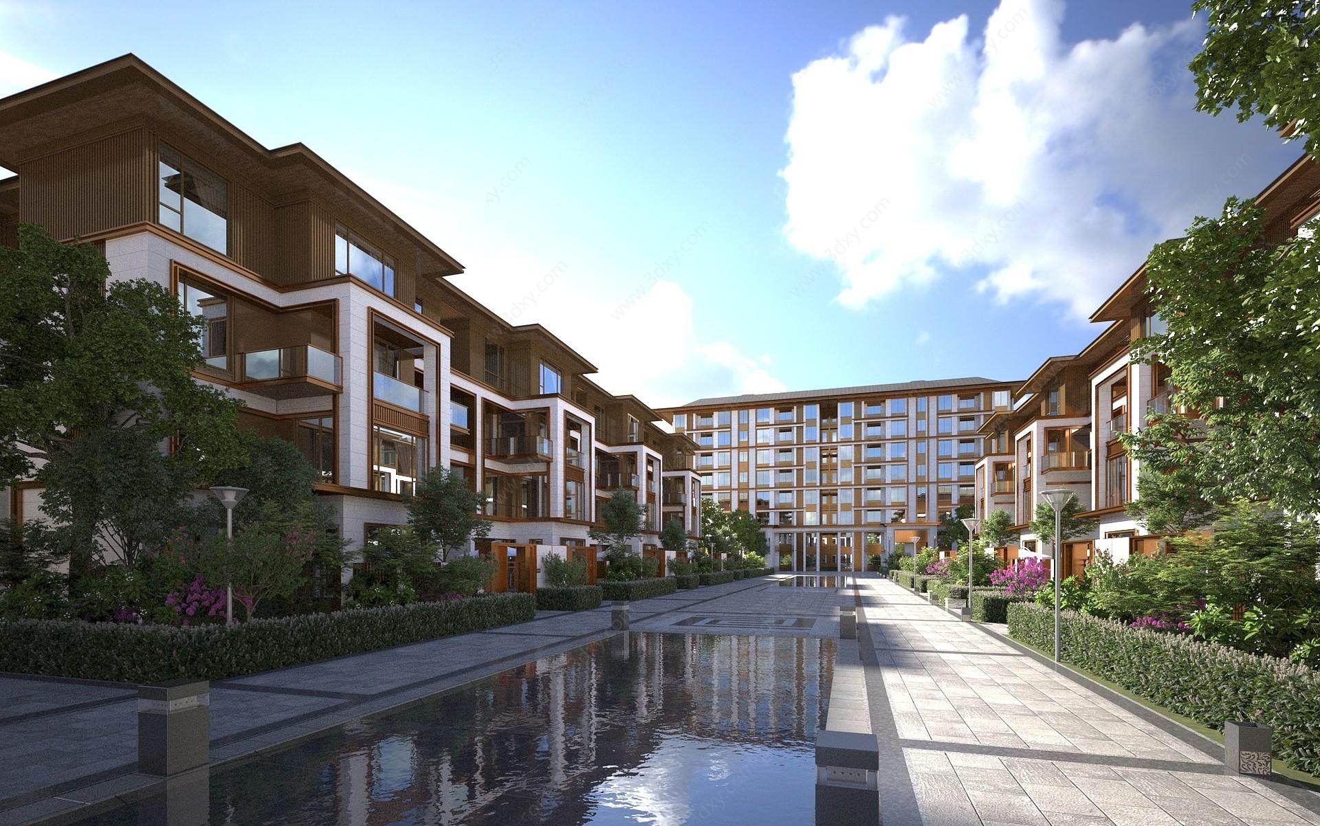 新中式別墅景觀3D模型