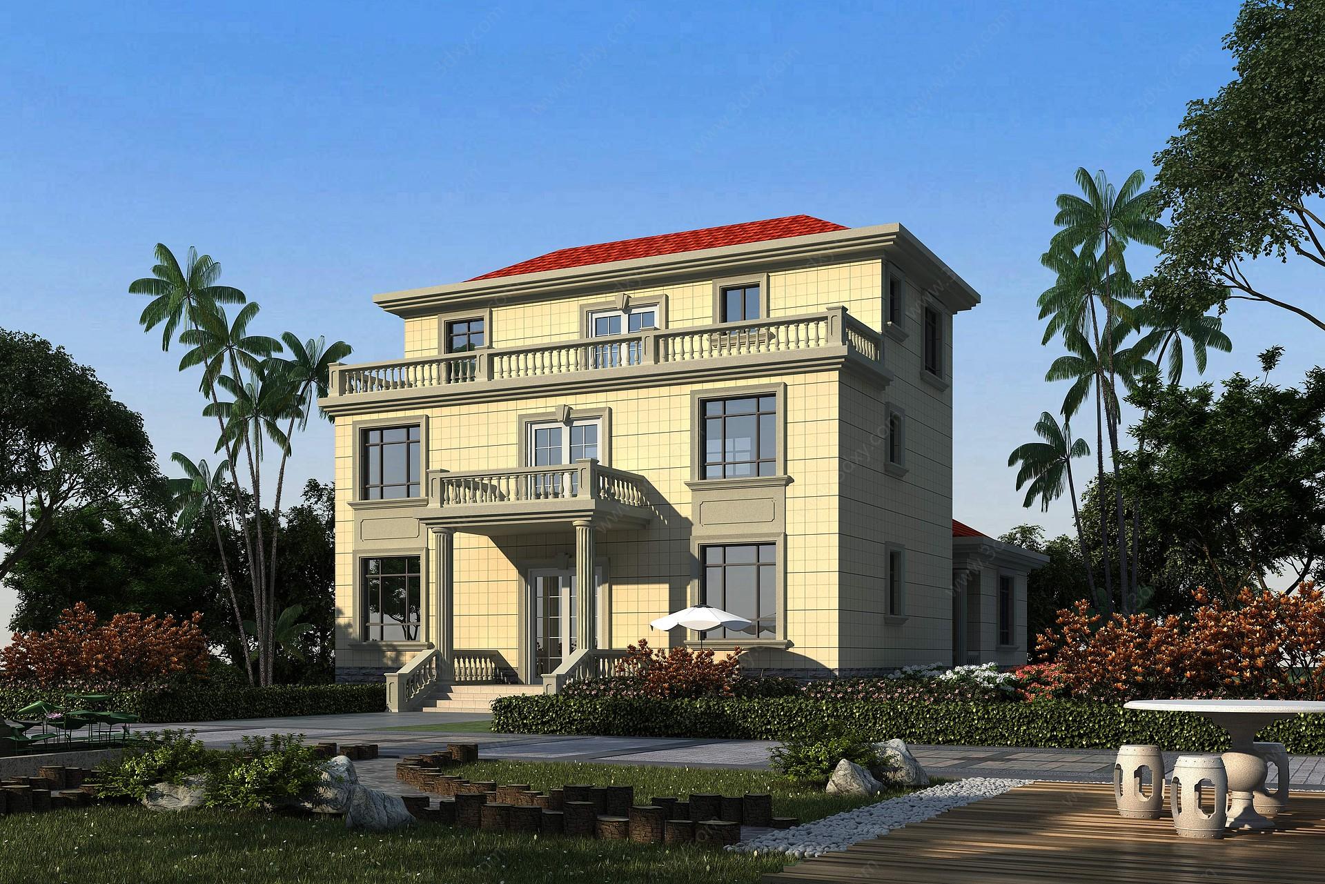 歐式獨棟別墅3D模型