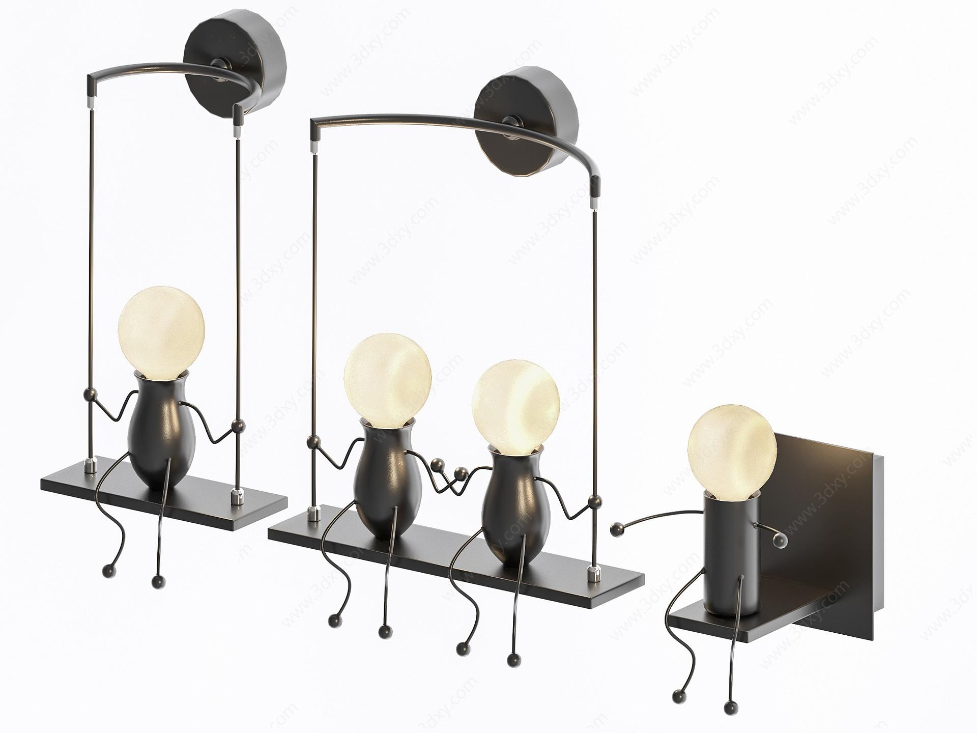 現代動物螞蟻吊燈壁燈3D模型