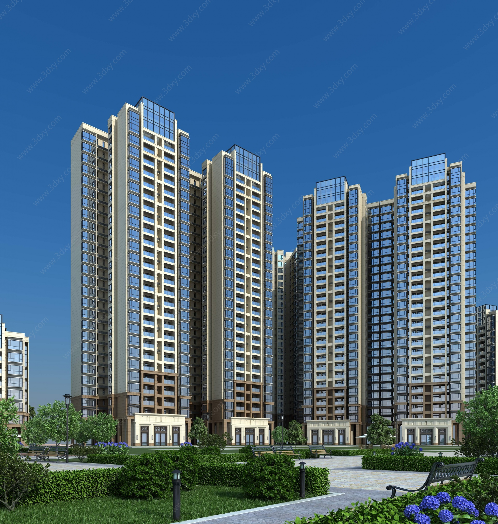 現代高層住宅3D模型