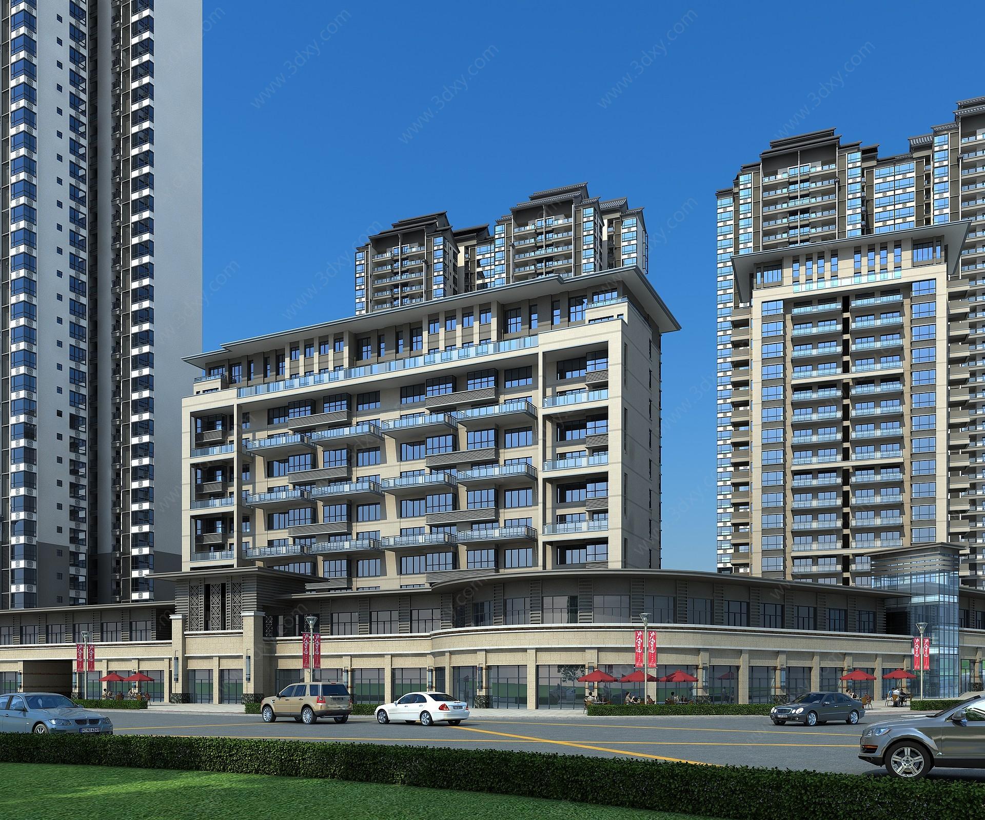 新中式商業街3D模型