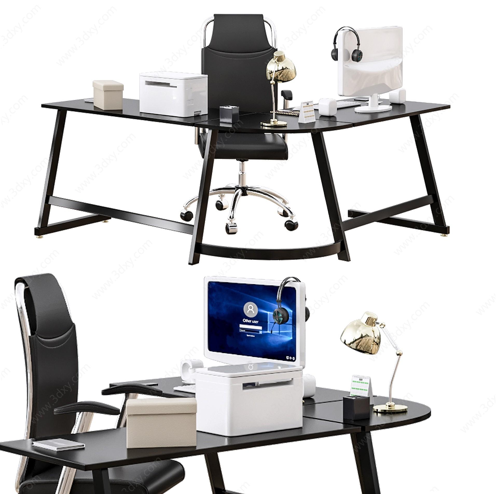 現代輕奢半圓弧經理辦公桌3D模型