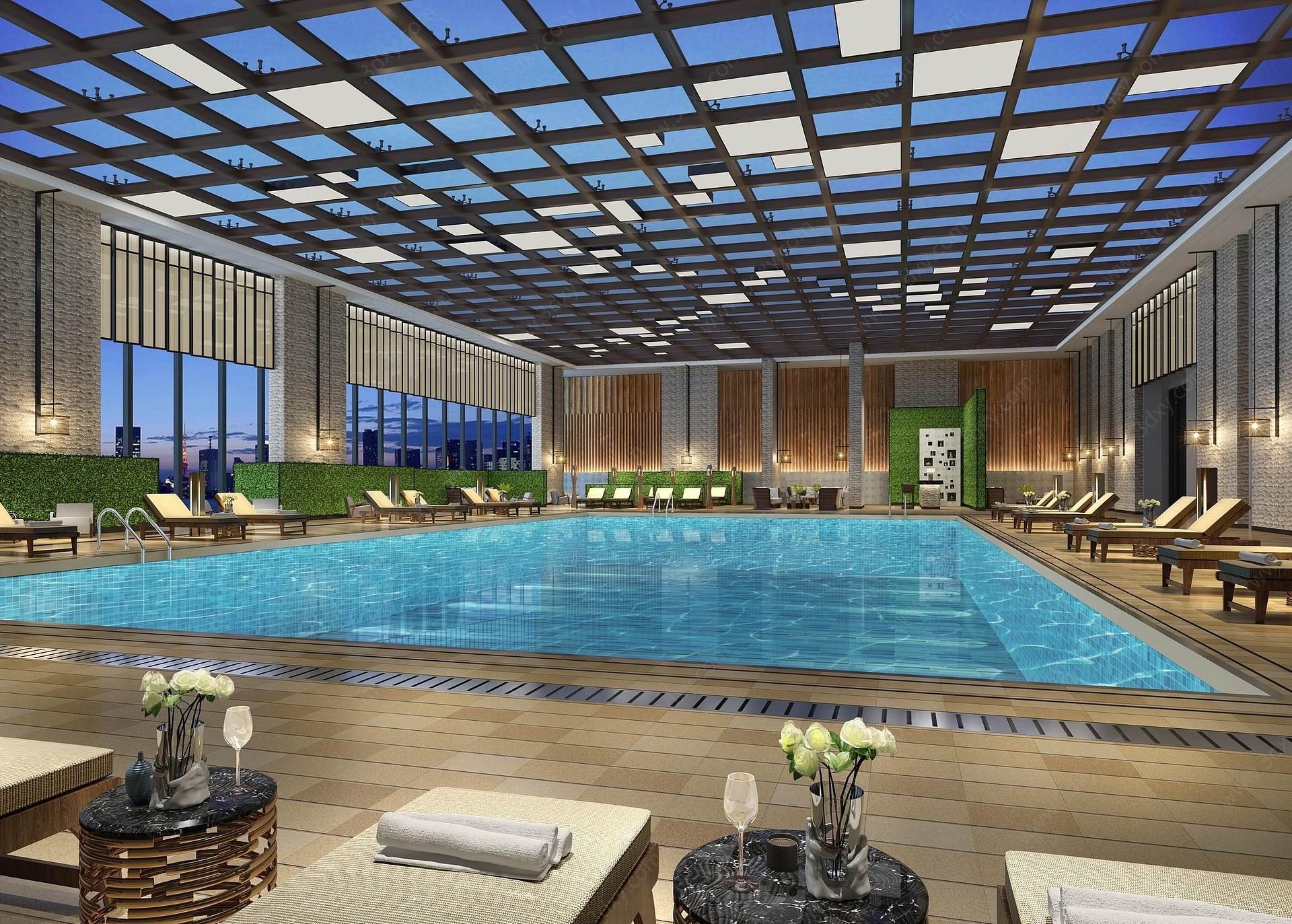 現代游泳池3D模型