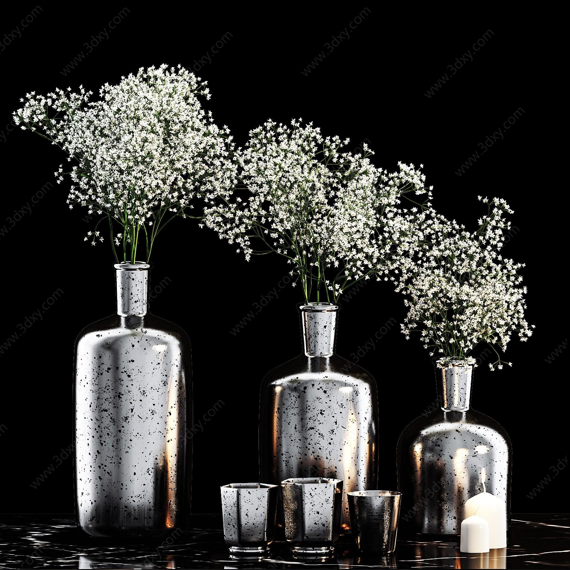 現代黑奢金屬植物花瓶擺設3D模型