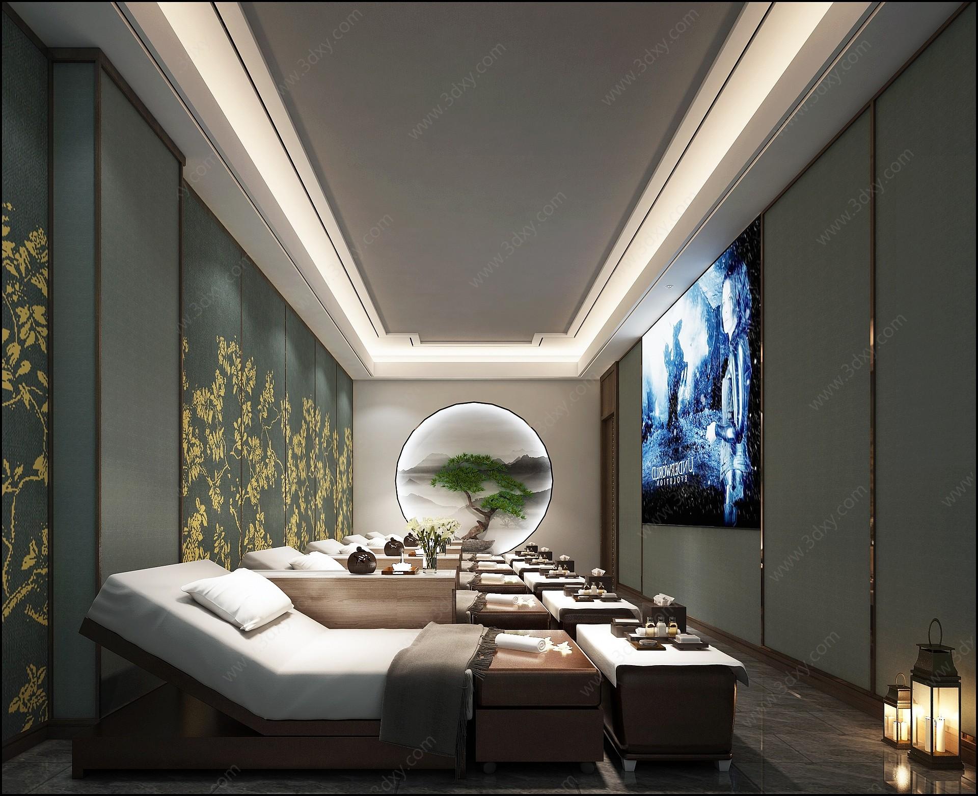 新中式美容店3D模型