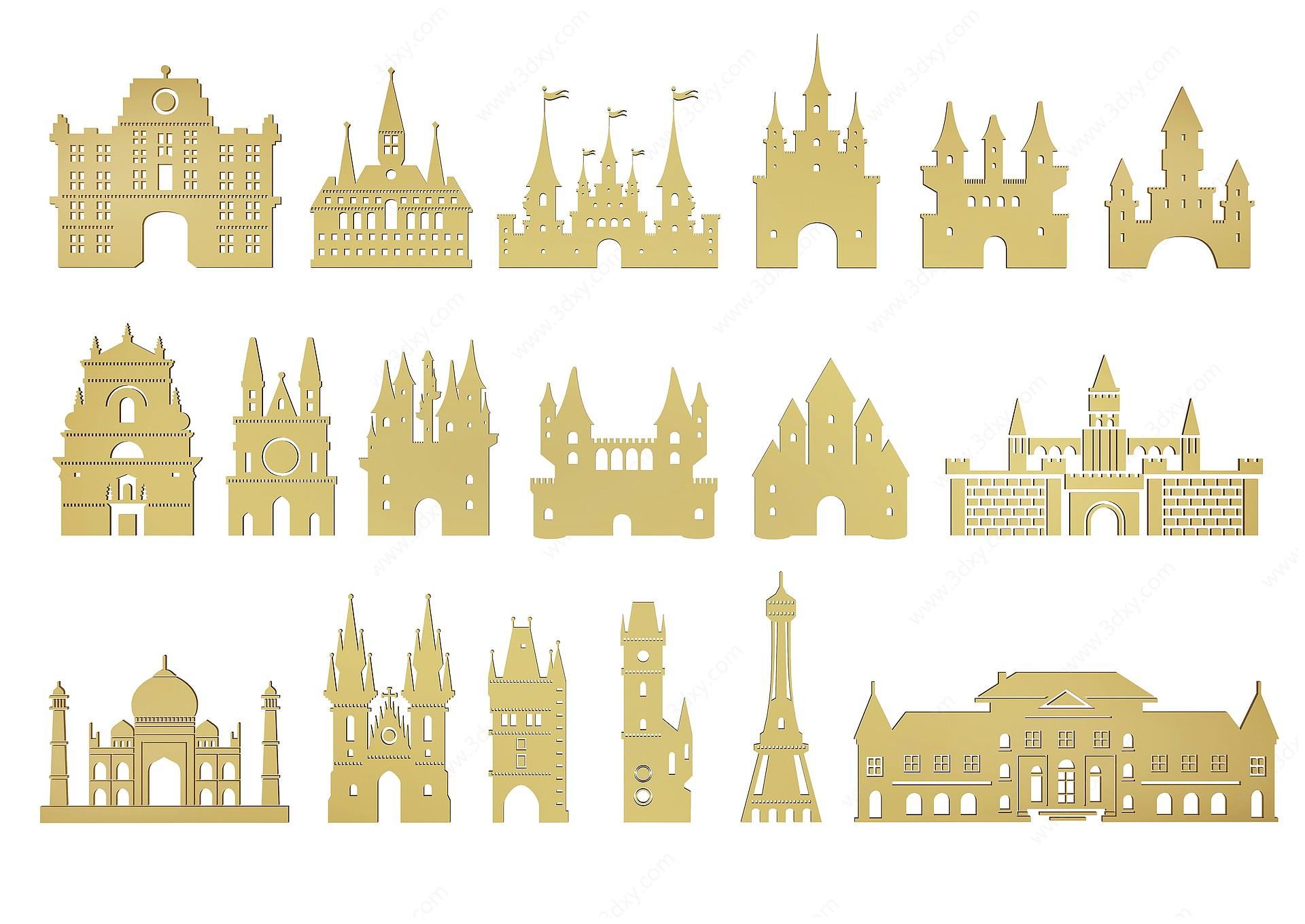 現代城堡剪影3D模型