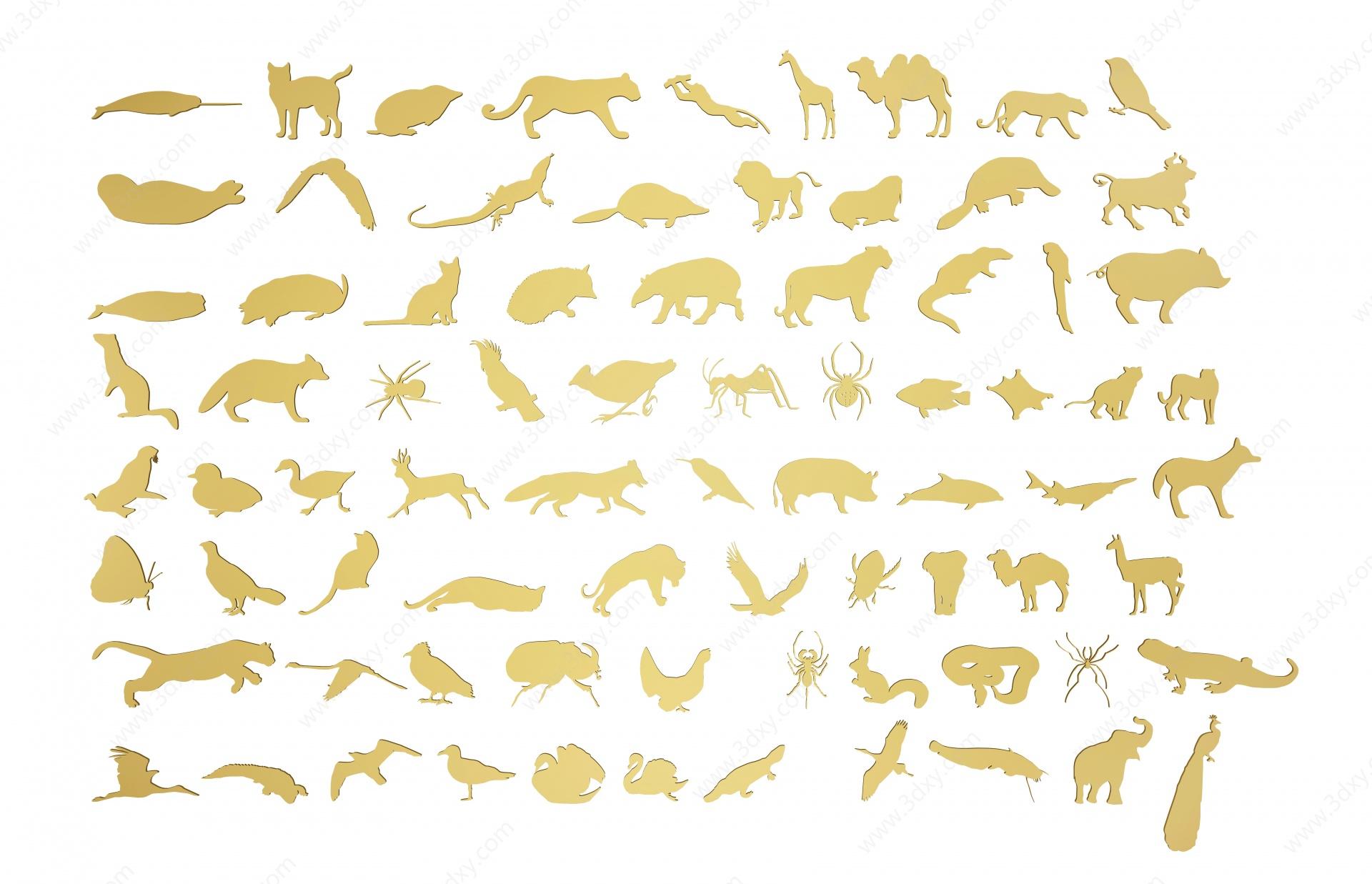 現代動物剪影3D模型