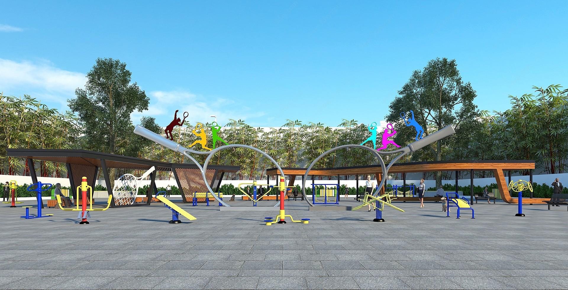 室外廣場公園3D模型