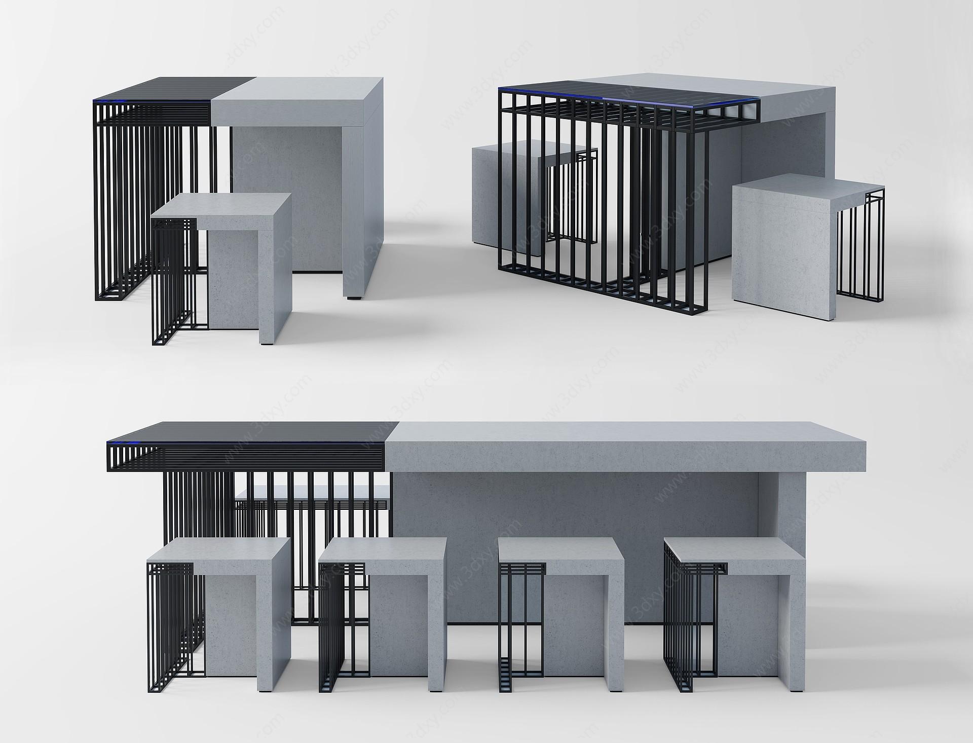 工業風餐臺3D模型
