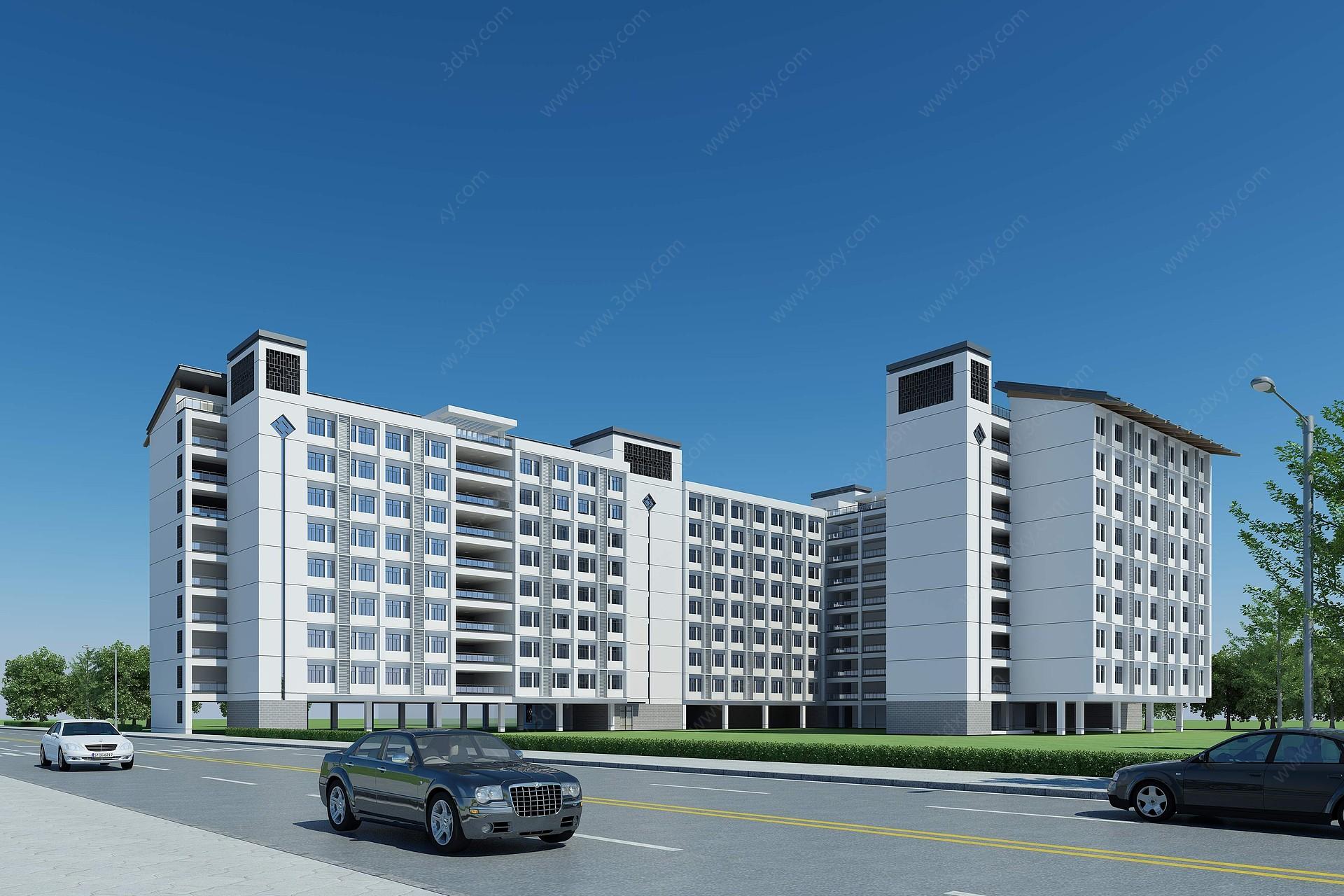 中式宿舍公寓3D模型