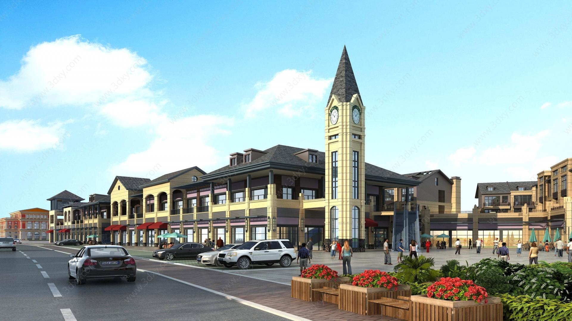 歐式商業街商業3D模型