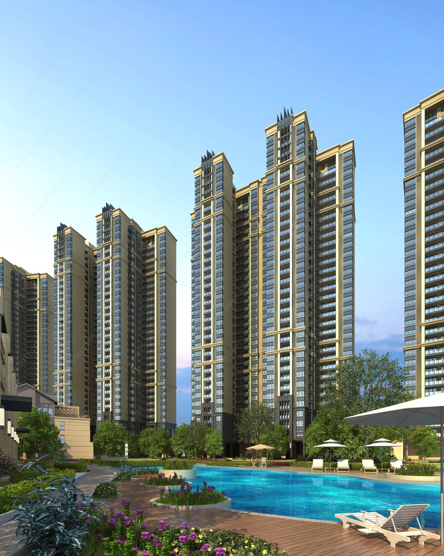 新古典住宅高層3D模型