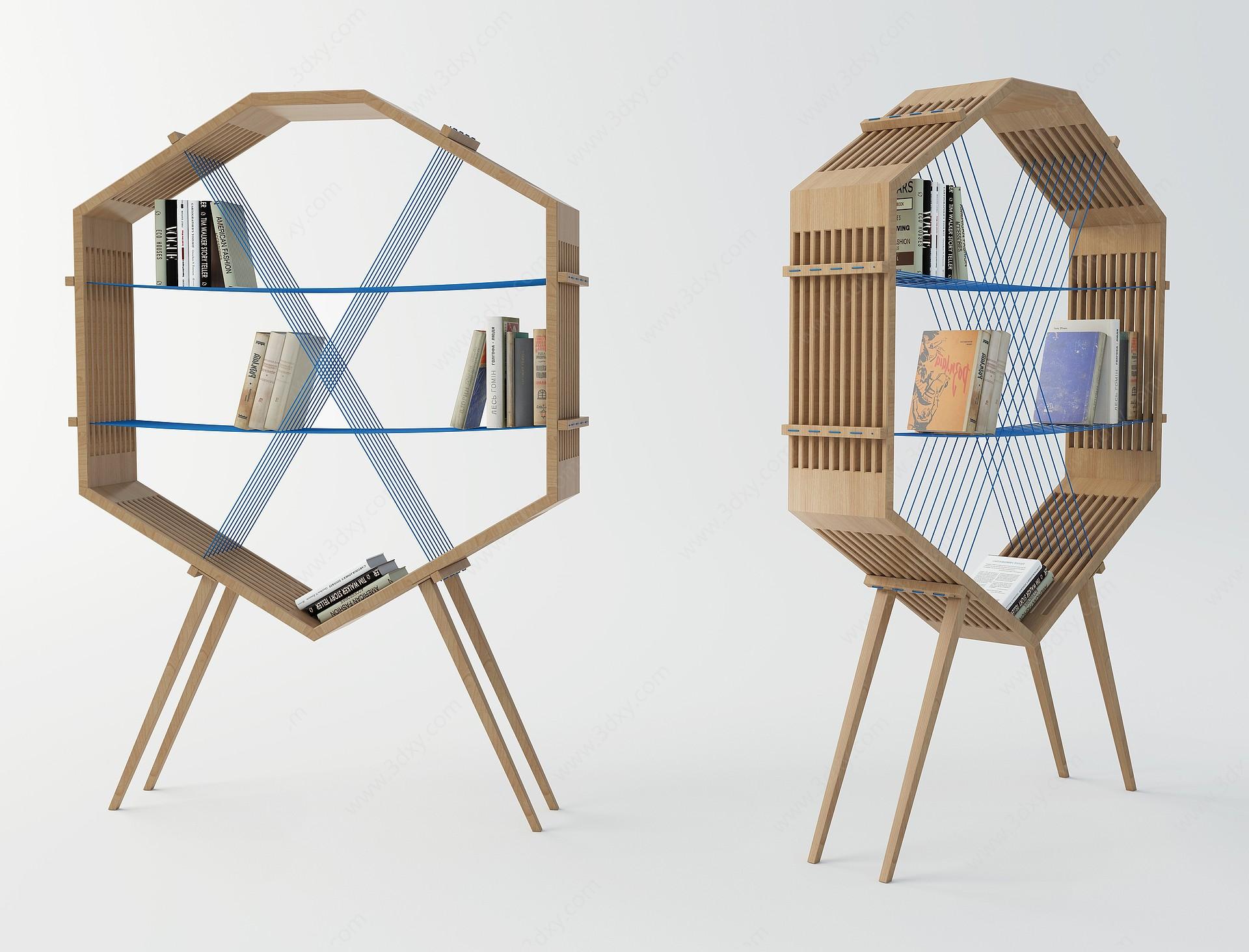 現代創意書架3D模型