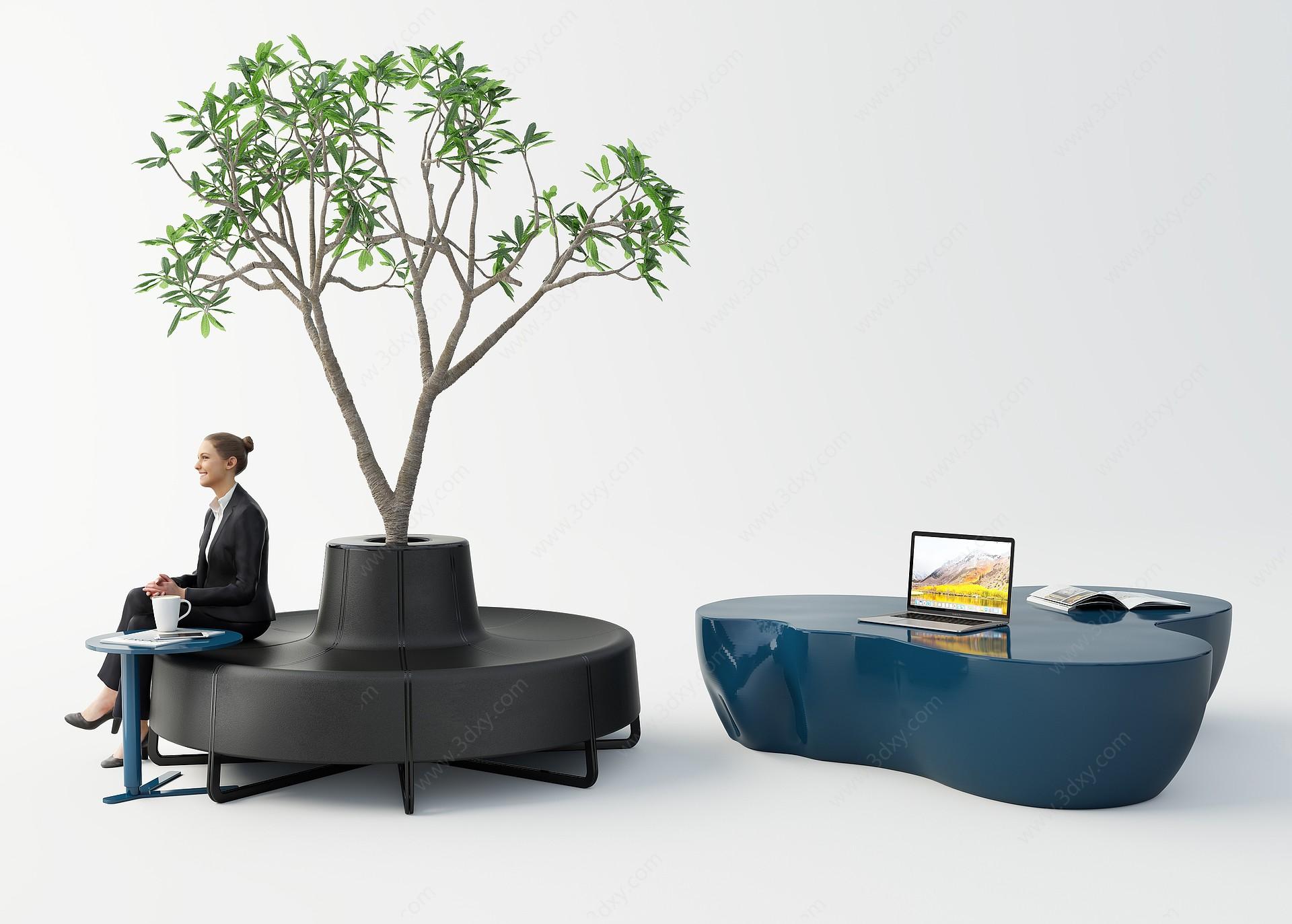 現代室內外休閑桌椅3D模型
